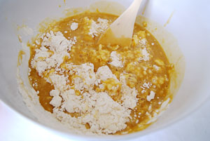 mixing apricots and flour