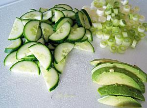 chopped salad vegetables