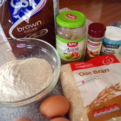 ingredients for blueberry bran muffins