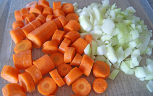 chopped carrot and onion for carrot soup