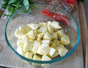 chopped apple for chicken waldorf salad