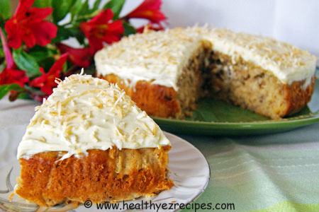 Slice of Coconut Pineapple Cake