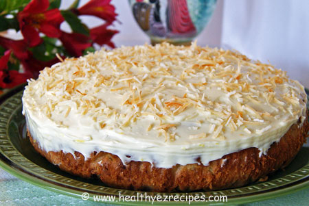coconut pineapple cake with mashed banana and nuts