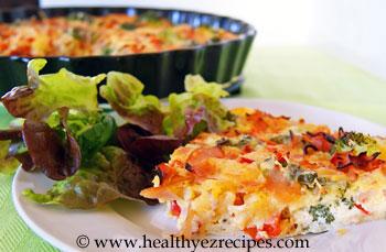 Slice of crustless broccoli quiche