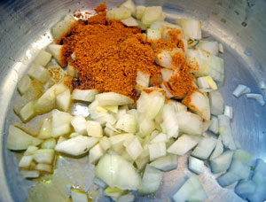 sauteing onions and curry powder