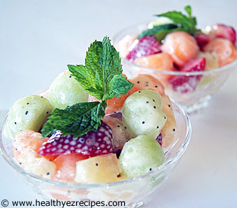 fruit salad with melon balls