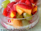 summer fruit salad with raspberry dressing