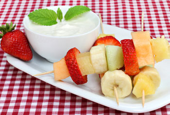 fruit snack with yogurt