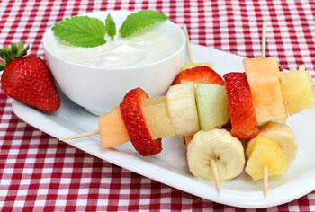 fruit snack with yogurt