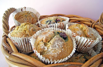 basket of healthy blueberry muffins