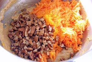 adding grated carrot and nuts