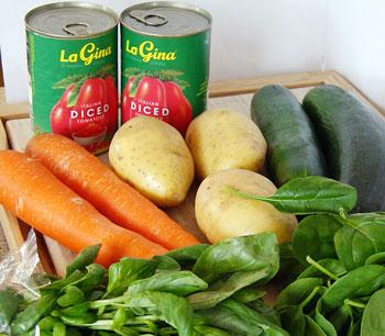 ingredients for Italian vegetable soup