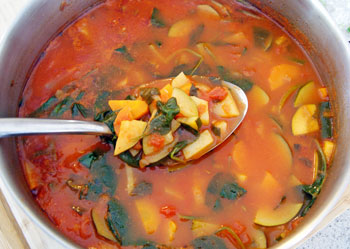 Cooked Italian vegetable soup