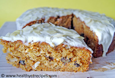 slice of low fat carrot cake