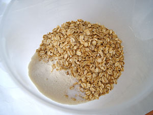 mixing rolled oats and flour in bowl