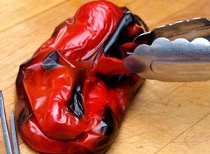 peeling roasted peppers