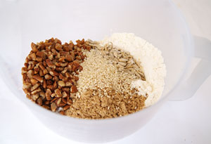 flour, seeds and nuts for pineapple slice