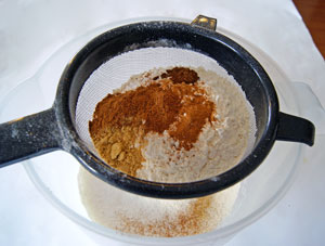 sifting flour and spices