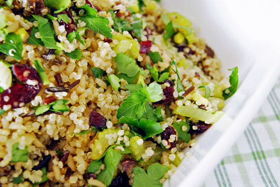 quinoa and wild rice stuffing in a casserole dish