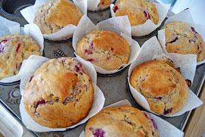 freshly baked raspberry muffins