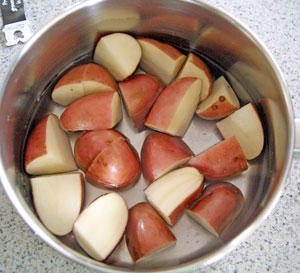 boiling potatoes for salad