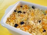 rice stuffing in casserole dish