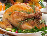 roasted turkey on plate with vegetables