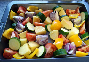 mixed vegetables ready to roast