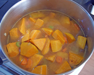 cooking roasted pumpkin soup
