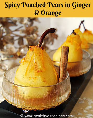 poached pears spiced with orange and ginger
