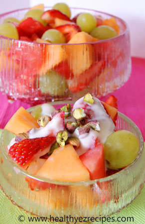 sweet and spicy fruit salad in a bowl