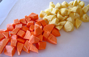 chopped potato and kumara for salad