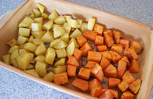 cooked potato and kumara for salad