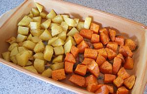 cooked potato and kumara for salad