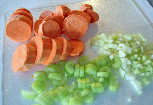 chopped vegetables for sweet potato soup