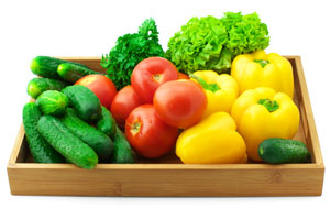 tray of healthy vegetables