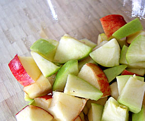 chopped apples for waldorf salad