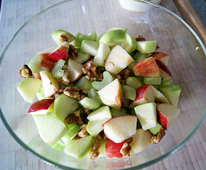 chopped apples, celery and walnuts for waldorf salad