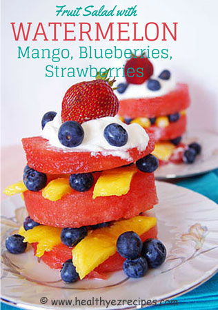 watermelon fruit salad stack