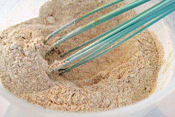 stirring buckwheat flour