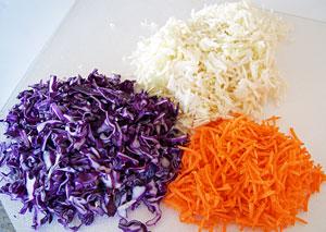 chopped vegetables for coleslaw