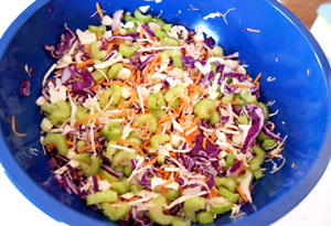 bowl of vegetables for coleslaw