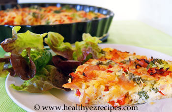 Slice of crustless broccoli quiche
