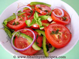 salad with sliced cucumber and tomato