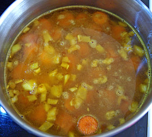 simmering carrot soup