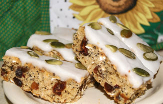 date slice with lemon icing