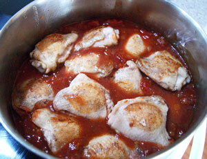 cooking chicken and sauce