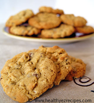 plate of healthy oatmeal chocolate chip cookies