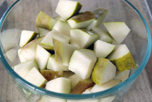 chopped pears for salad