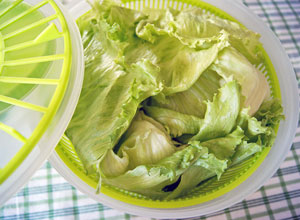 drying salad greens in a salad spinner